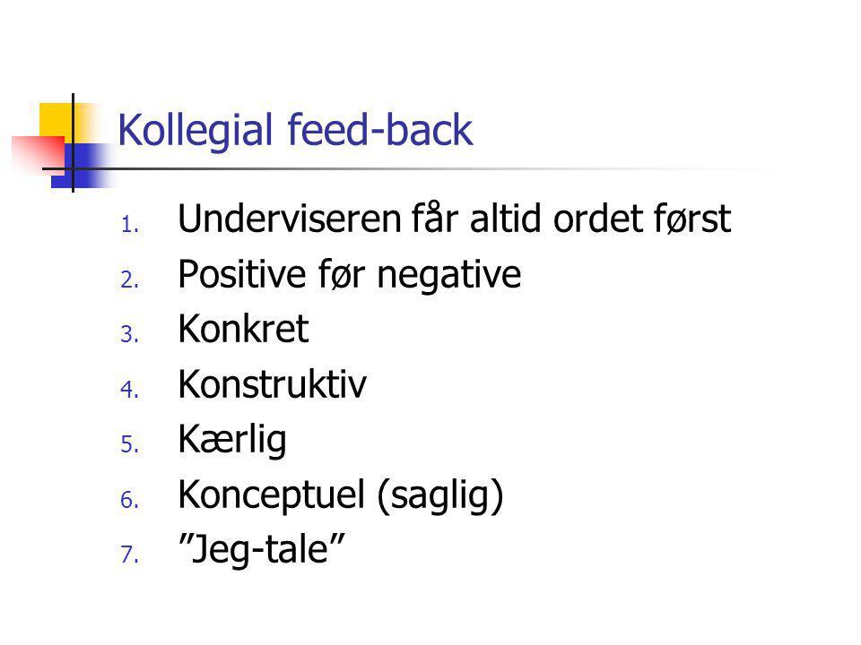 Kollegial feed-back 1. Underviseren får altid ordet først 2.