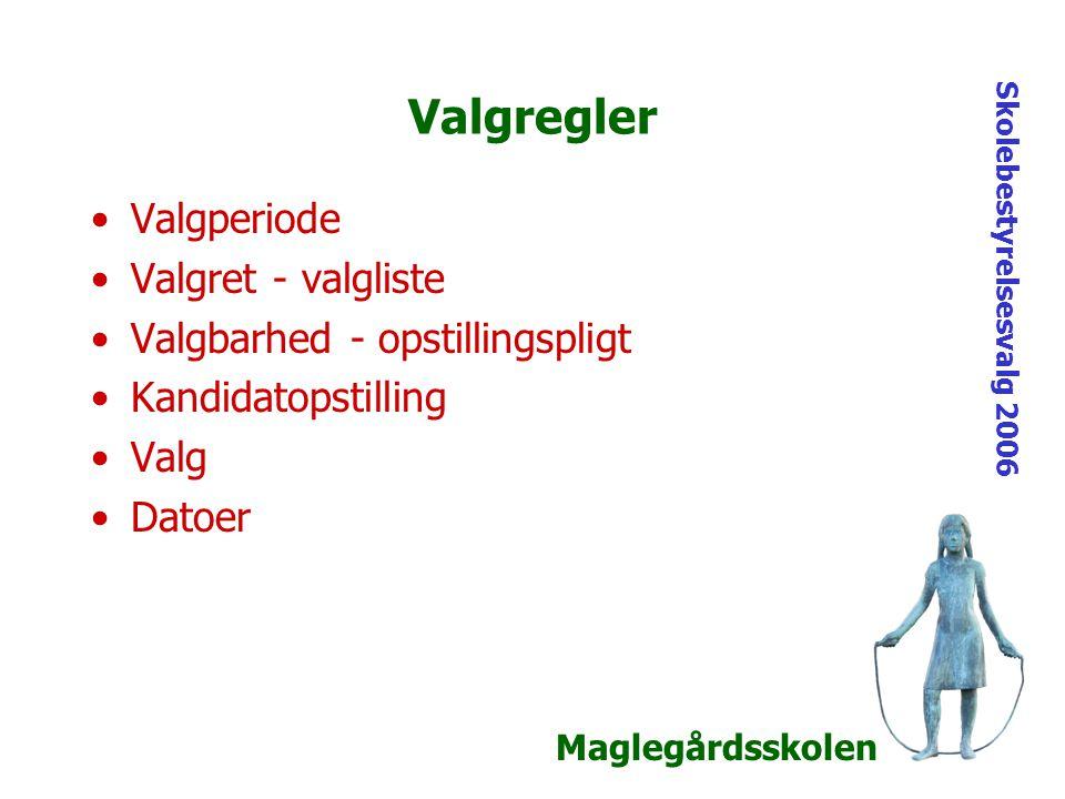 Maglegårdsskolen Skolebestyrelsesvalg 2006 Valgregler Valgperiode Valgret - valgliste Valgbarhed - opstillingspligt Kandidatopstilling Valg Datoer