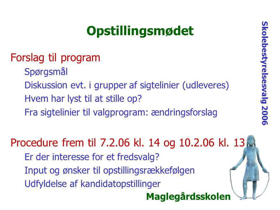 Maglegårdsskolen Skolebestyrelsesvalg 2006 Opstillingsmødet Forslag til program Spørgsmål Diskussion evt.