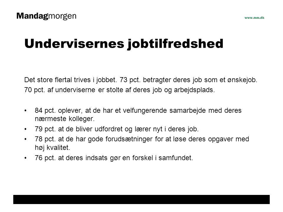 www.mm.dk Undervisernes jobtilfredshed Det store flertal trives i jobbet.
