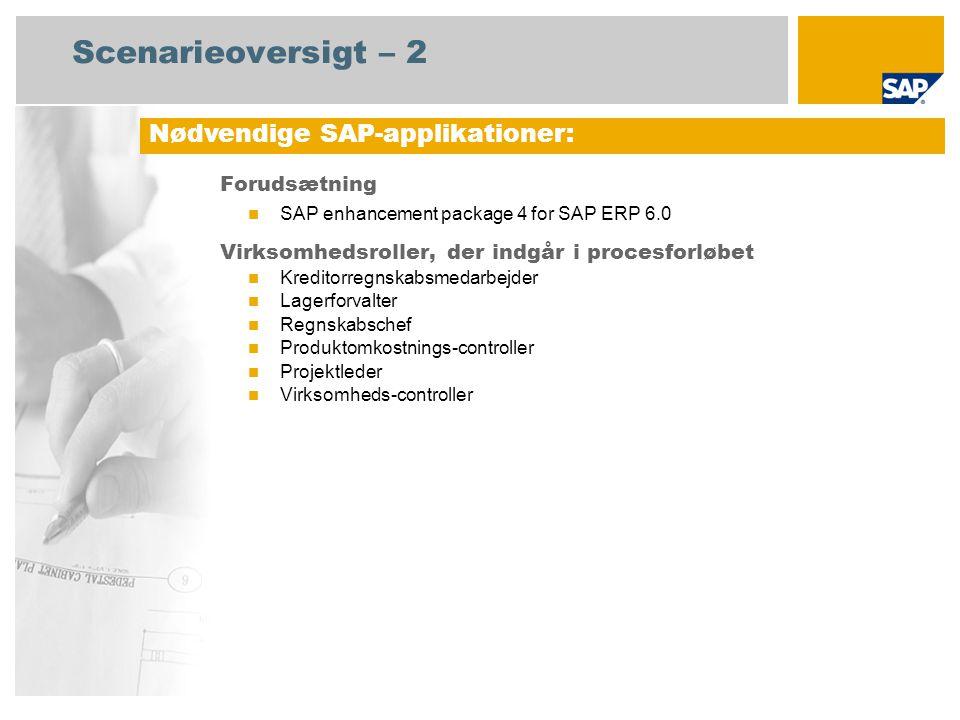 Scenarieoversigt – 2 Forudsætning SAP enhancement package 4 for SAP ERP 6.0 Virksomhedsroller, der indgår i procesforløbet Kreditorregnskabsmedarbejder Lagerforvalter Regnskabschef Produktomkostnings-controller Projektleder Virksomheds-controller Nødvendige SAP-applikationer: