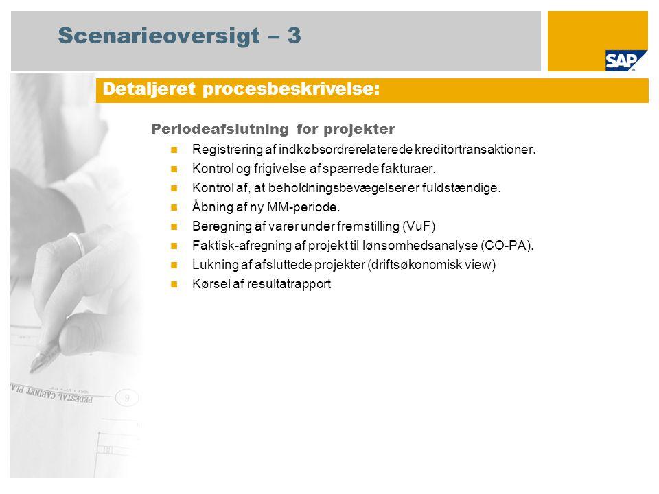 Scenarieoversigt – 3 Periodeafslutning for projekter Registrering af indkøbsordrerelaterede kreditortransaktioner.