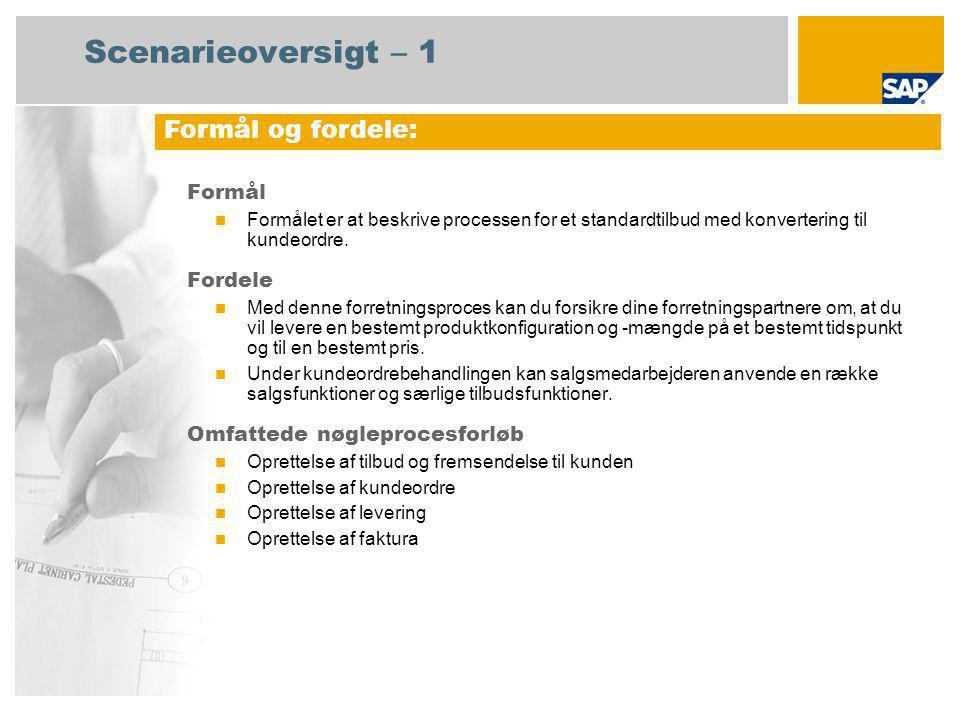 Scenarieoversigt – 1 Formål Formålet er at beskrive processen for et standardtilbud med konvertering til kundeordre.