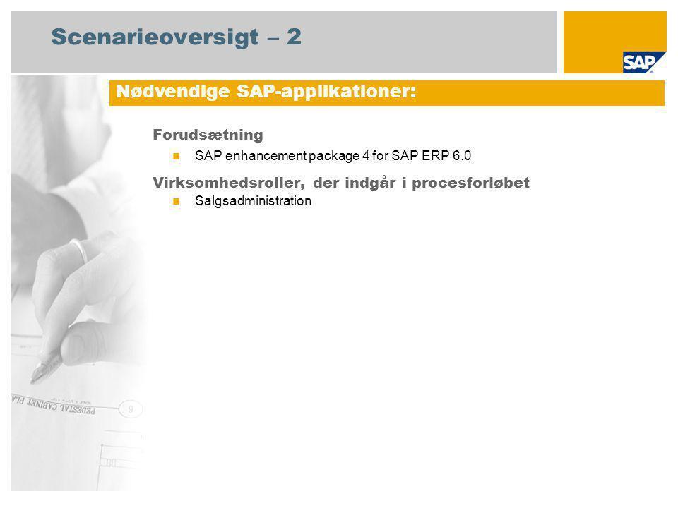 Scenarieoversigt – 2 Forudsætning SAP enhancement package 4 for SAP ERP 6.0 Virksomhedsroller, der indgår i procesforløbet Salgsadministration Nødvendige SAP-applikationer:
