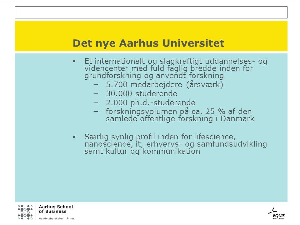 Det nye Aarhus Universitet  Et internationalt og slagkraftigt uddannelses- og videncenter med fuld faglig bredde inden for grundforskning og anvendt forskning −5.700 medarbejdere (årsværk) −30.000 studerende −2.000 ph.d.-studerende −forskningsvolumen på ca.