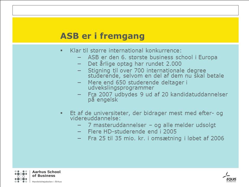 ASB er i fremgang  Klar til større international konkurrence: −ASB er den 6.