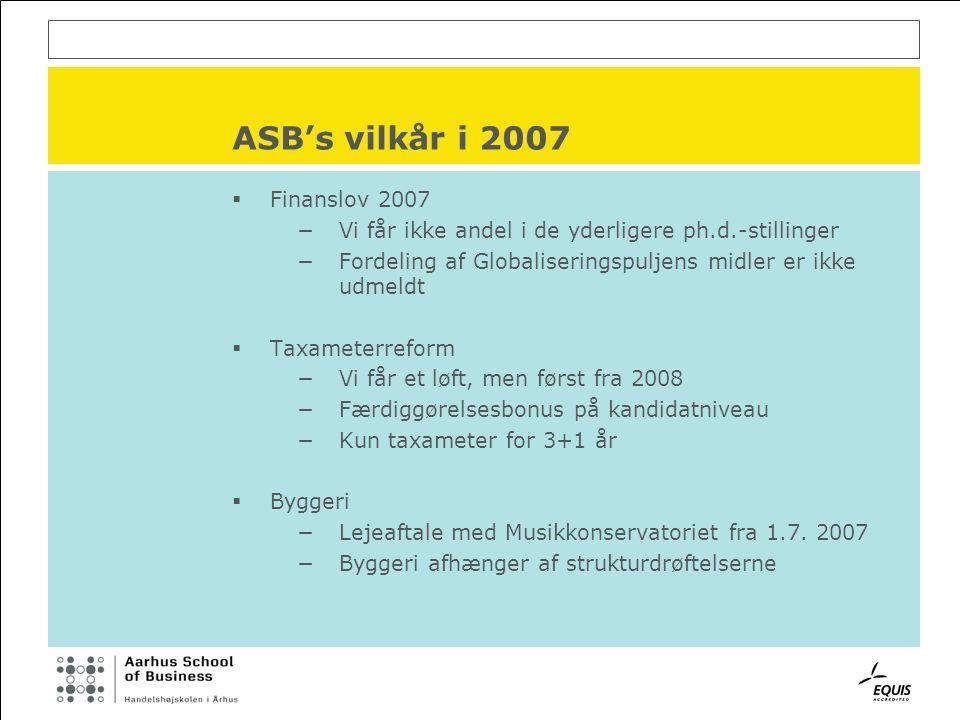 ASB's vilkår i 2007  Finanslov 2007 −Vi får ikke andel i de yderligere ph.d.-stillinger −Fordeling af Globaliseringspuljens midler er ikke udmeldt  Taxameterreform −Vi får et løft, men først fra 2008 −Færdiggørelsesbonus på kandidatniveau −Kun taxameter for 3+1 år  Byggeri −Lejeaftale med Musikkonservatoriet fra 1.7.