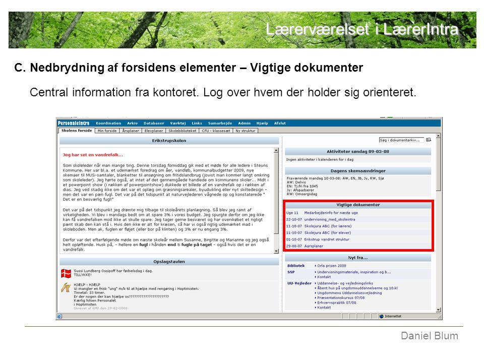 C. Nedbrydning af forsidens elementer – Vigtige dokumenter Central information fra kontoret.