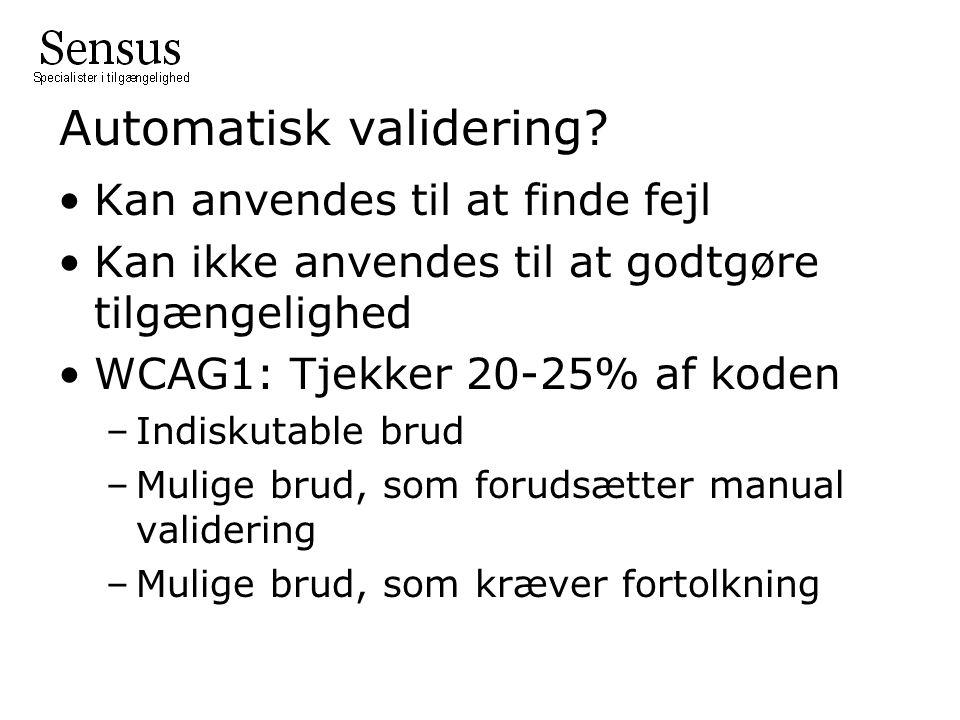 Automatisk validering.