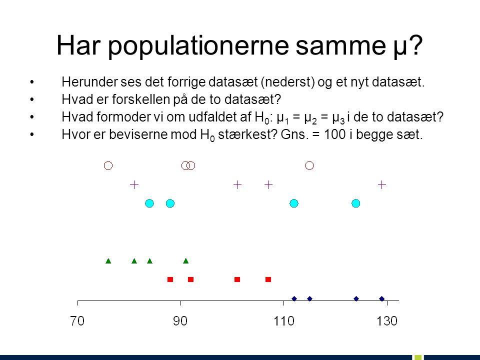 Har populationerne samme μ. Herunder ses det forrige datasæt (nederst) og et nyt datasæt.