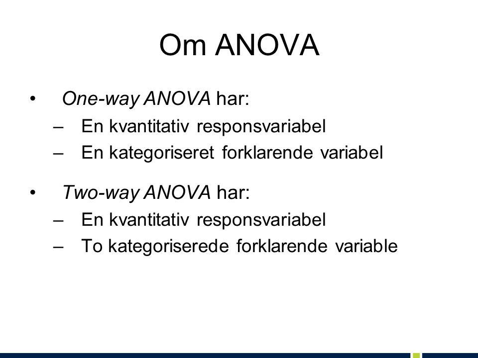 Om ANOVA One-way ANOVA har: –En kvantitativ responsvariabel –En kategoriseret forklarende variabel Two-way ANOVA har: –En kvantitativ responsvariabel –To kategoriserede forklarende variable