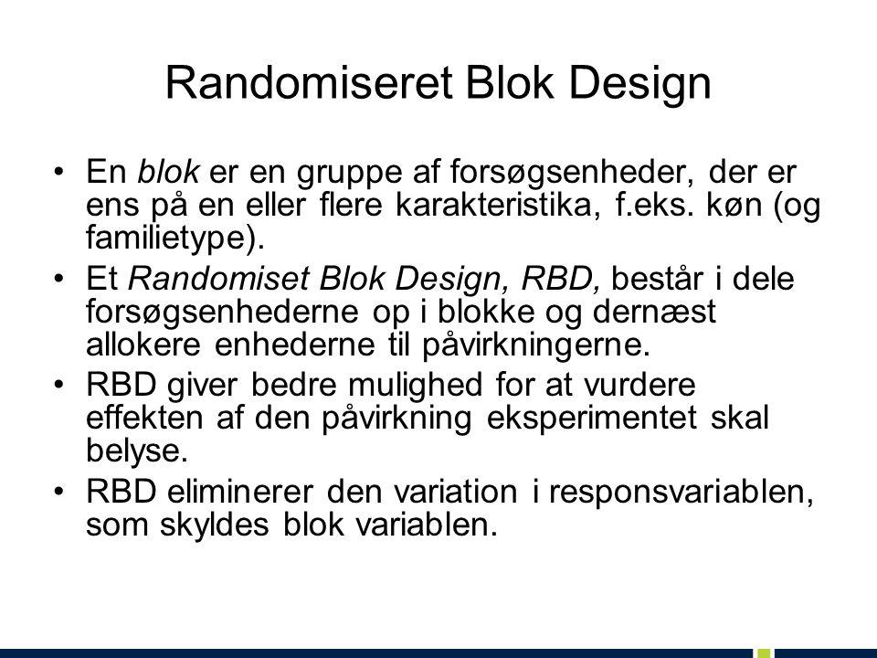 Randomiseret Blok Design En blok er en gruppe af forsøgsenheder, der er ens på en eller flere karakteristika, f.eks.