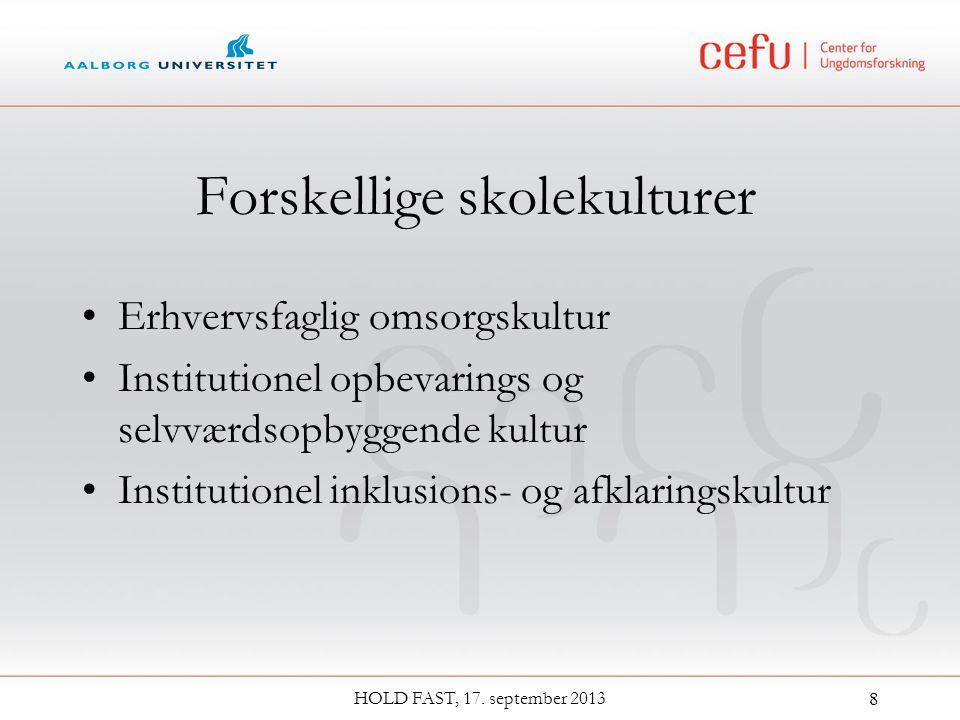 Forskellige skolekulturer Erhvervsfaglig omsorgskultur Institutionel opbevarings og selvværdsopbyggende kultur Institutionel inklusions- og afklaringskultur HOLD FAST, 17.
