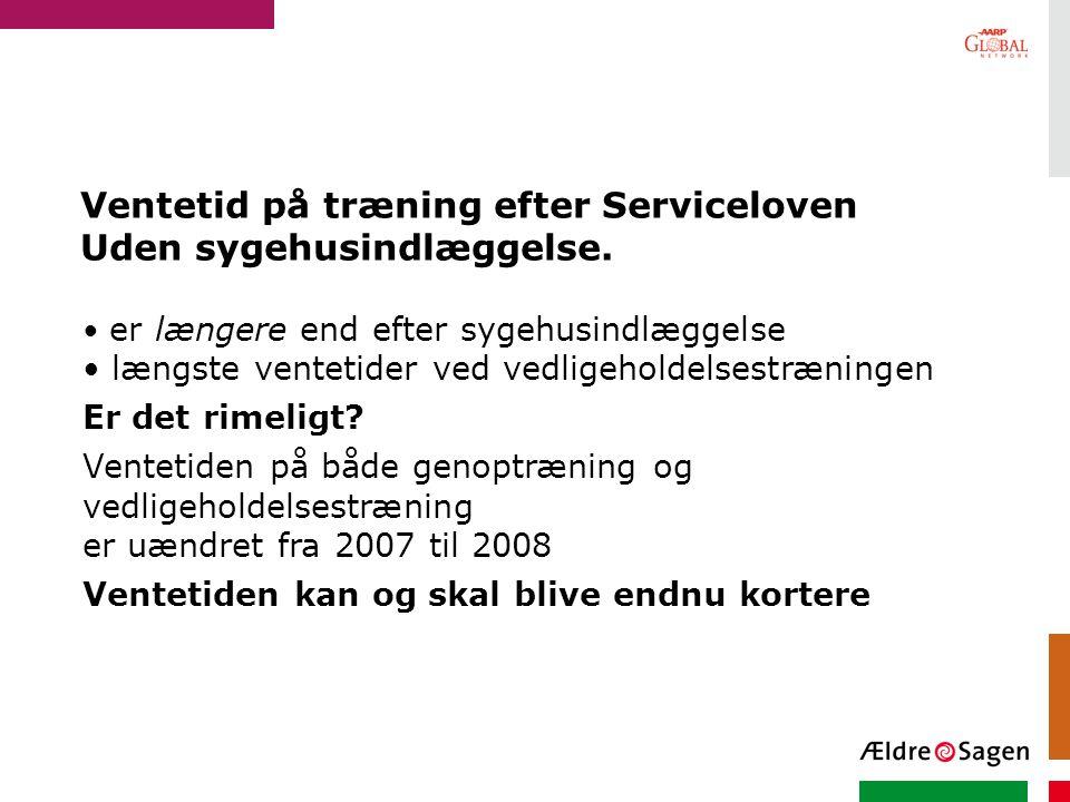 Ventetid på træning efter Serviceloven Uden sygehusindlæggelse.
