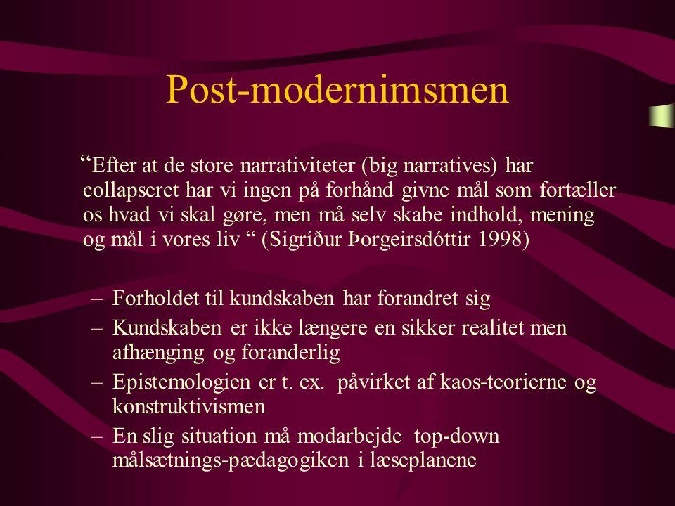 Post-modernimsmen Efter at de store narrativiteter (big narratives) har collapseret har vi ingen på forhånd givne mål som fortæller os hvad vi skal gøre, men må selv skabe indhold, mening og mål i vores liv (Sigríður Þorgeirsdóttir 1998) –Forholdet til kundskaben har forandret sig –Kundskaben er ikke længere en sikker realitet men afhænging og foranderlig –Epistemologien er t.