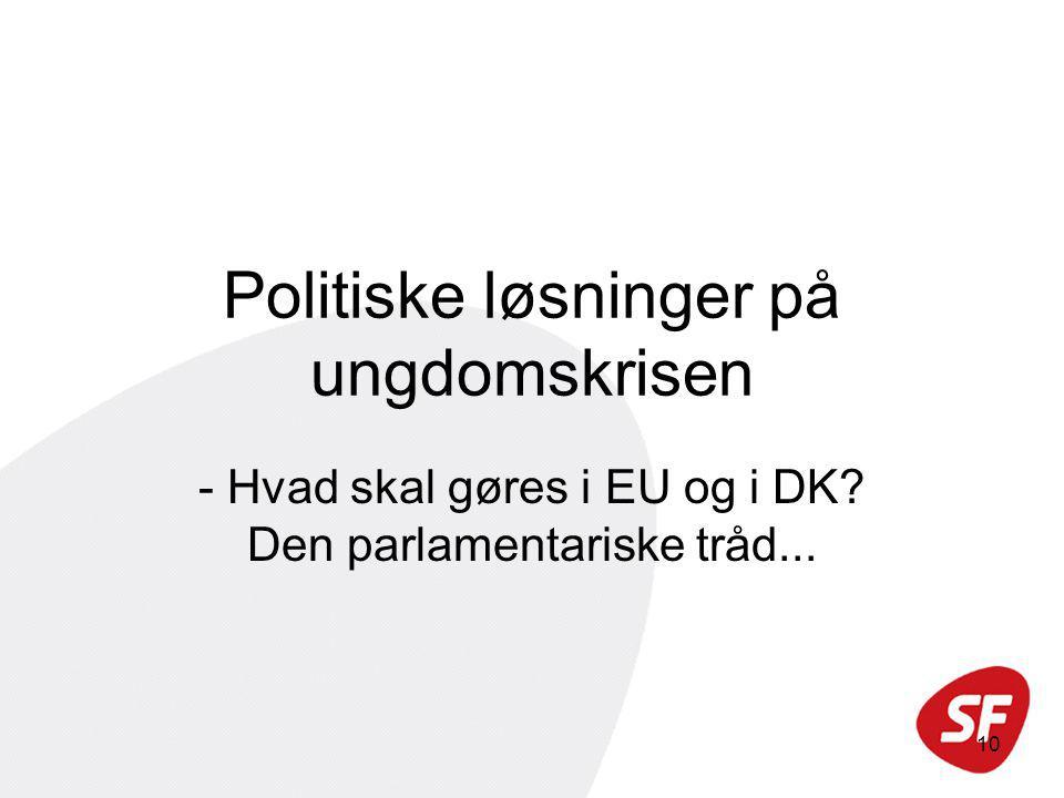10 Politiske løsninger på ungdomskrisen - Hvad skal gøres i EU og i DK Den parlamentariske tråd...