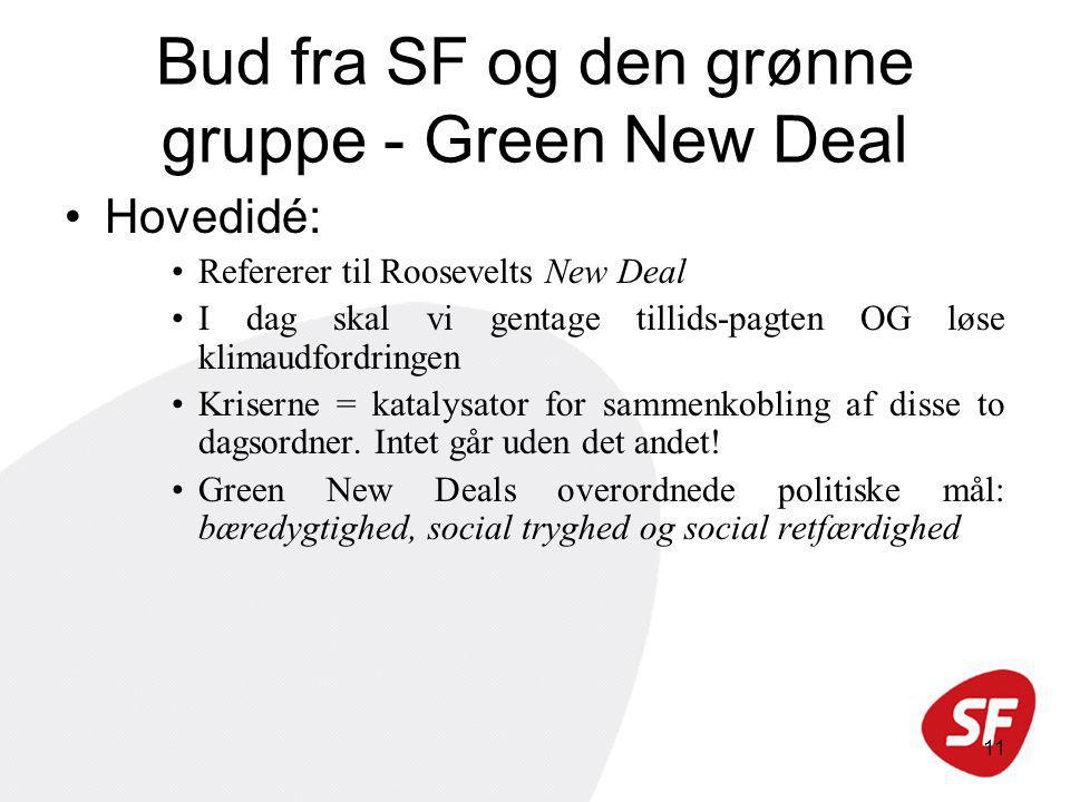 11 Bud fra SF og den grønne gruppe - Green New Deal Hovedidé: Refererer til Roosevelts New Deal I dag skal vi gentage tillids-pagten OG løse klimaudfordringen Kriserne = katalysator for sammenkobling af disse to dagsordner.