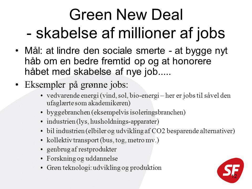 12 Green New Deal - skabelse af millioner af jobs Mål: at lindre den sociale smerte - at bygge nyt håb om en bedre fremtid op og at honorere håbet med skabelse af nye job.....