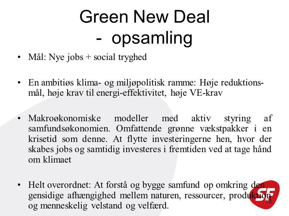 13 Green New Deal - opsamling Mål: Nye jobs + social tryghed En ambitiøs klima- og miljøpolitisk ramme: Høje reduktions- mål, høje krav til energi-effektivitet, høje VE-krav Makroøkonomiske modeller med aktiv styring af samfundsøkonomien.