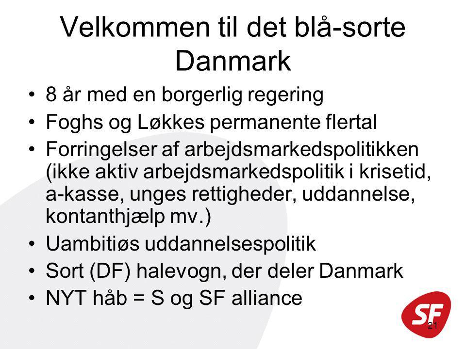 21 Velkommen til det blå-sorte Danmark 8 år med en borgerlig regering Foghs og Løkkes permanente flertal Forringelser af arbejdsmarkedspolitikken (ikke aktiv arbejdsmarkedspolitik i krisetid, a-kasse, unges rettigheder, uddannelse, kontanthjælp mv.) Uambitiøs uddannelsespolitik Sort (DF) halevogn, der deler Danmark NYT håb = S og SF alliance