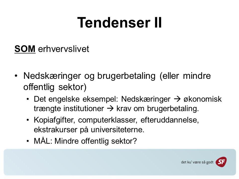 Tendenser II SOM erhvervslivet Nedskæringer og brugerbetaling (eller mindre offentlig sektor) Det engelske eksempel: Nedskæringer  økonomisk trængte institutioner  krav om brugerbetaling.