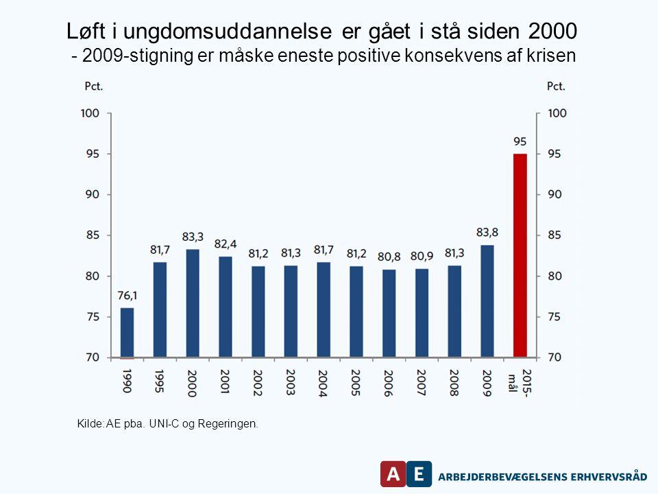 Løft i ungdomsuddannelse er gået i stå siden 2000 - 2009-stigning er måske eneste positive konsekvens af krisen Kilde: AE pba.