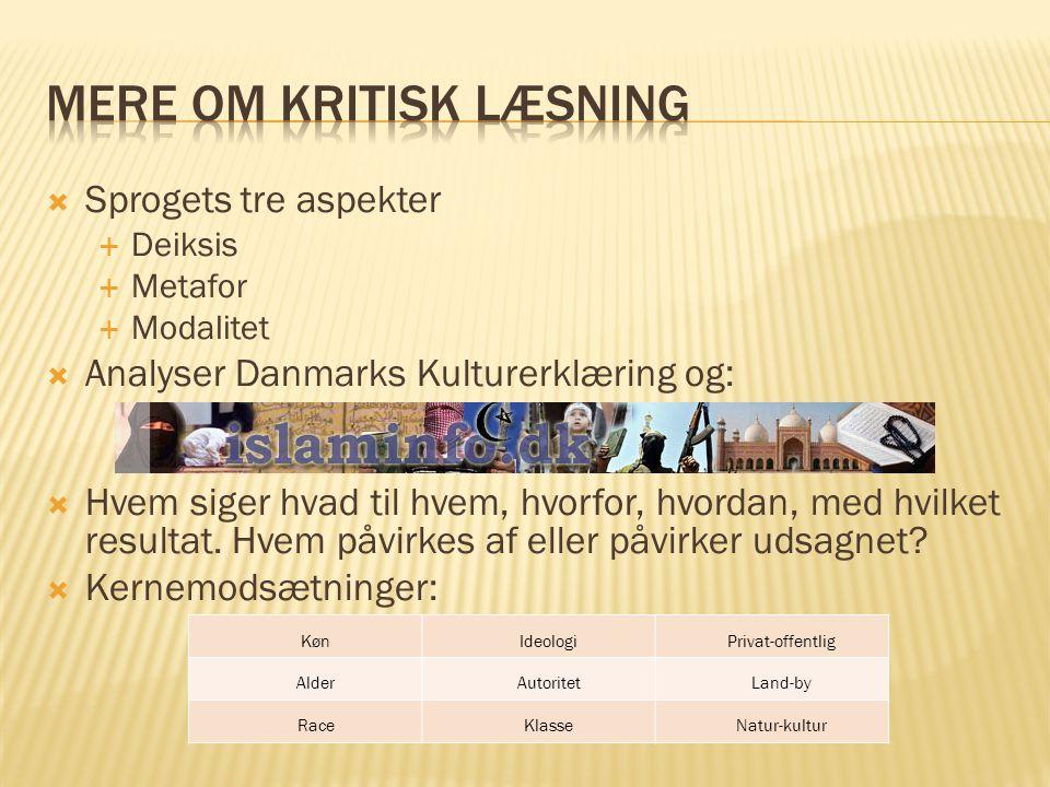  Sprogets tre aspekter  Deiksis  Metafor  Modalitet  Analyser Danmarks Kulturerklæring og:   Hvem siger hvad til hvem, hvorfor, hvordan, med hvilket resultat.