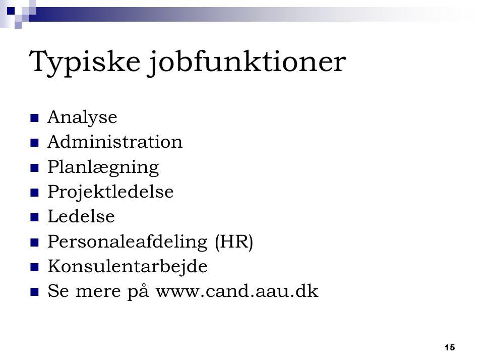 15 Typiske jobfunktioner Analyse Administration Planlægning Projektledelse Ledelse Personaleafdeling (HR) Konsulentarbejde Se mere på www.cand.aau.dk