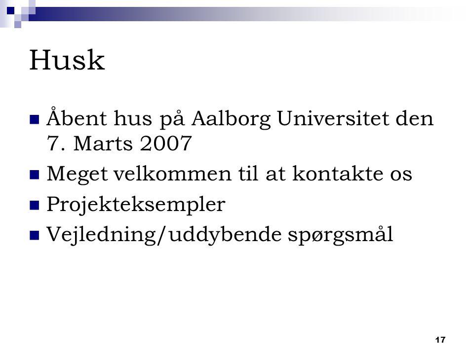 17 Husk Åbent hus på Aalborg Universitet den 7.