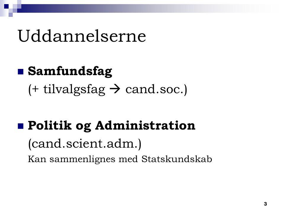 3 Uddannelserne Samfundsfag (+ tilvalgsfag  cand.soc.) Politik og Administration (cand.scient.adm.) Kan sammenlignes med Statskundskab