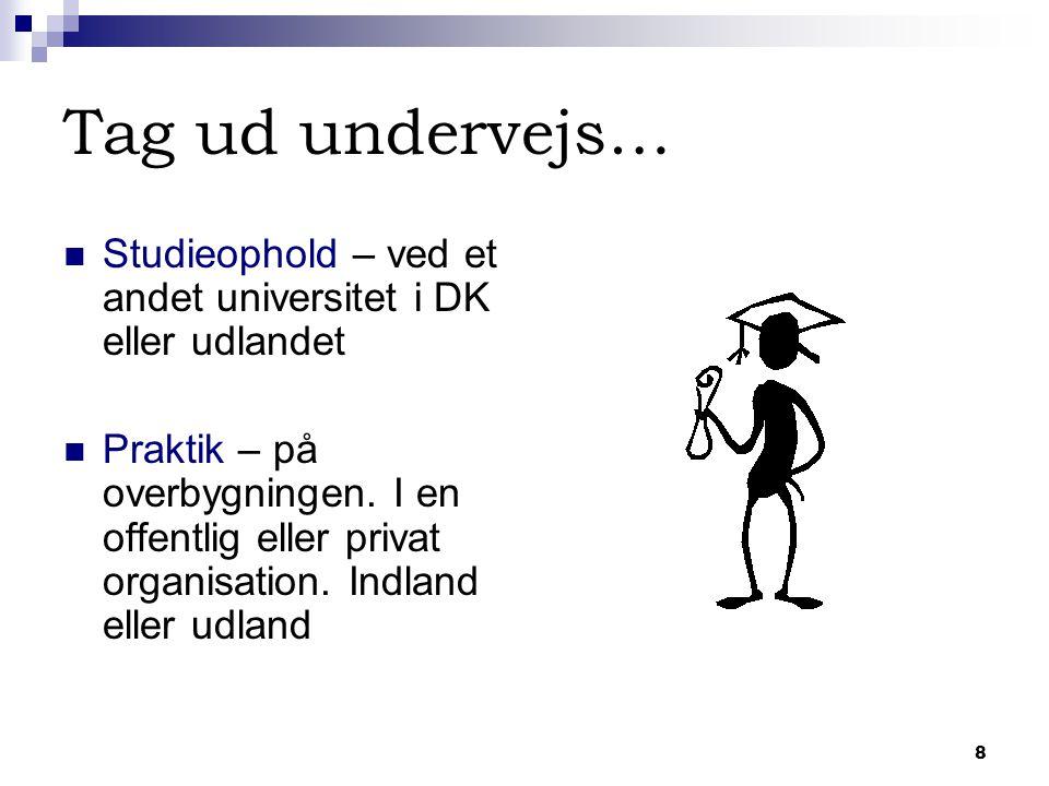8 Tag ud undervejs… Studieophold – ved et andet universitet i DK eller udlandet Praktik – på overbygningen.
