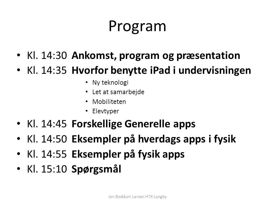 Program Kl. 14:30Ankomst, program og præsentation Kl.
