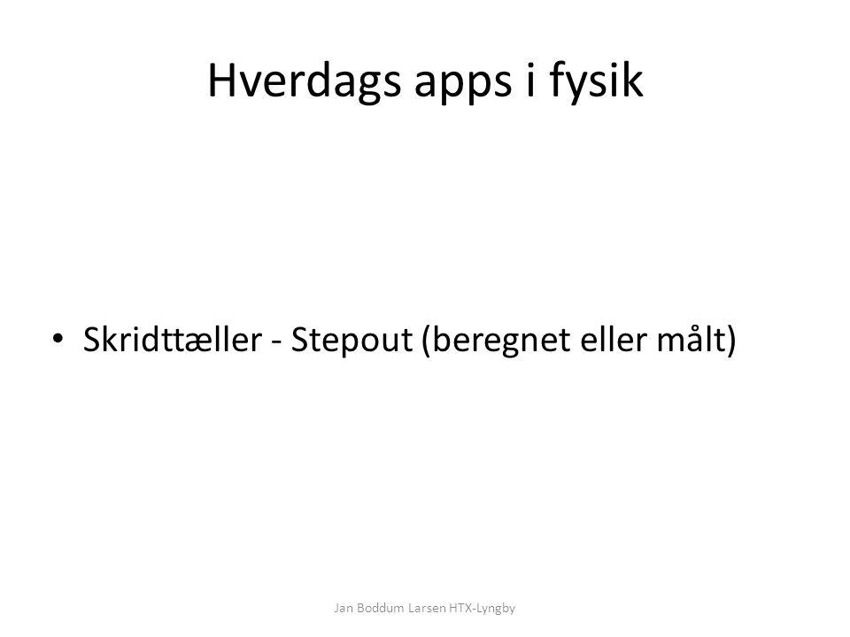 Hverdags apps i fysik Skridttæller - Stepout (beregnet eller målt) Jan Boddum Larsen HTX-Lyngby
