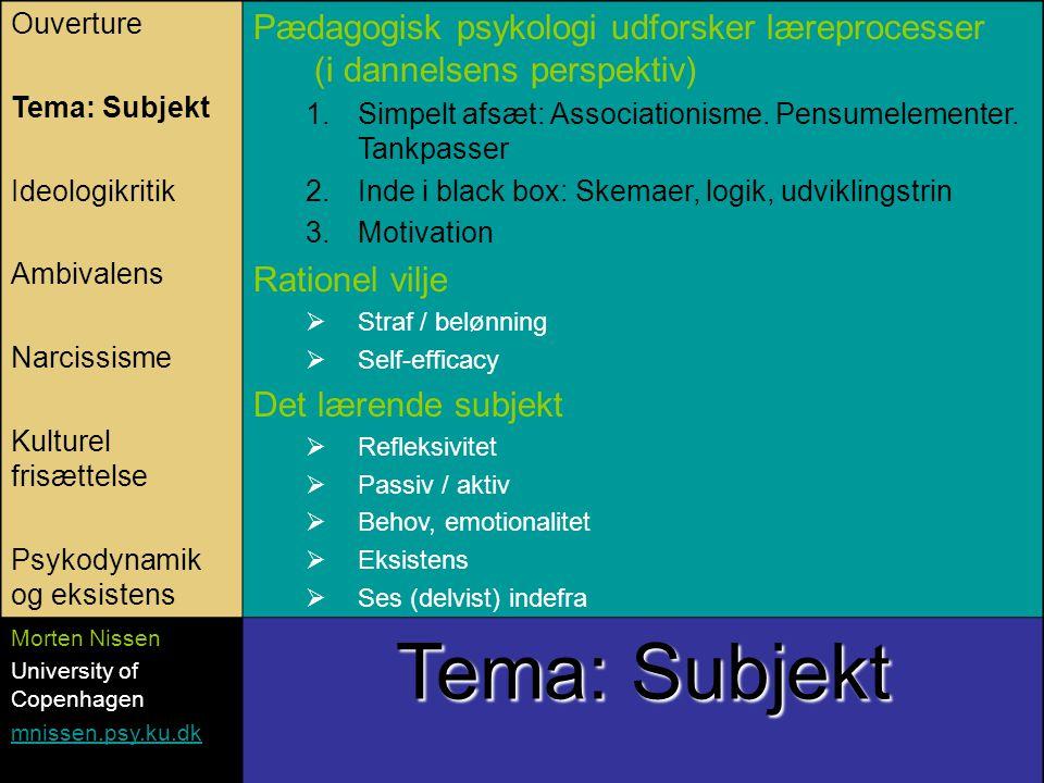 Ouverture Tema: Subjekt Ideologikritik Ambivalens Narcissisme Kulturel frisættelse Psykodynamik og eksistens Pædagogisk psykologi udforsker læreprocesser (i dannelsens perspektiv) 1.Simpelt afsæt: Associationisme.