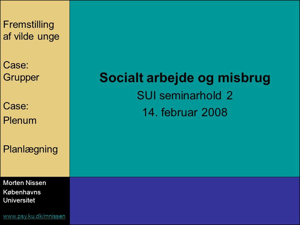 Fremstilling af vilde unge Case: Grupper Case: Plenum Planlægning Socialt arbejde og misbrug SUI seminarhold 2 14.