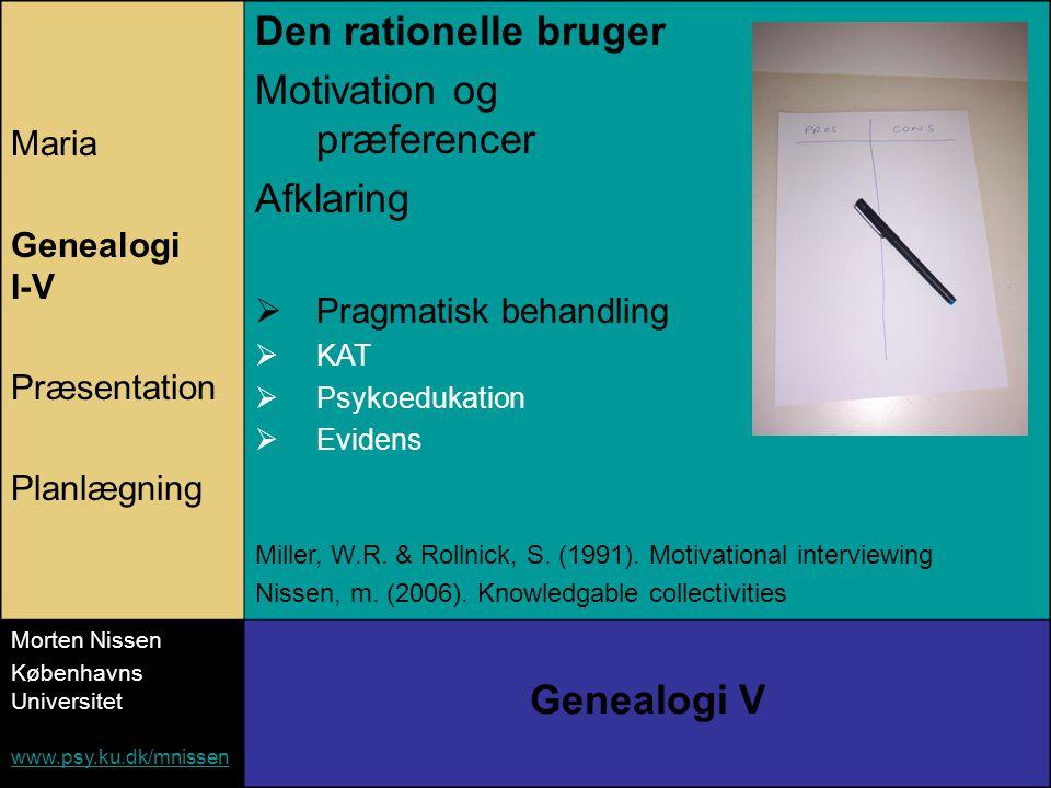 Maria Genealogi I-V Præsentation Planlægning Den rationelle bruger Motivation og præferencer Afklaring  Pragmatisk behandling  KAT  Psykoedukation  Evidens Miller, W.R.