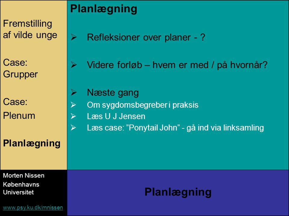 Fremstilling af vilde unge Case: Grupper Case: Plenum Planlægning  Refleksioner over planer - .