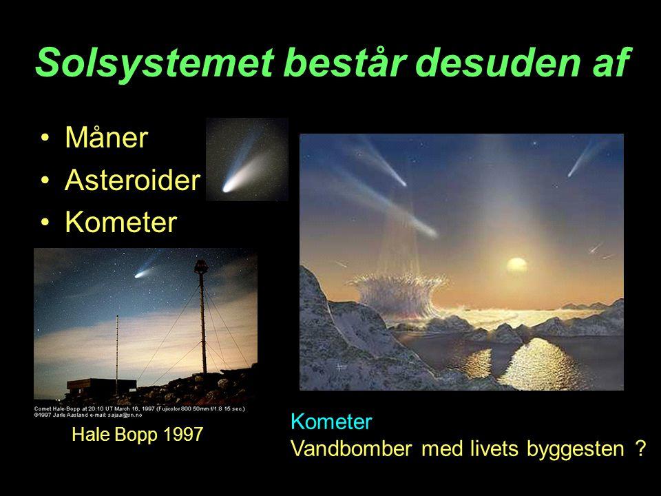 Solsystemet består desuden af Måner Asteroider Kometer Vandbomber med livets byggesten .