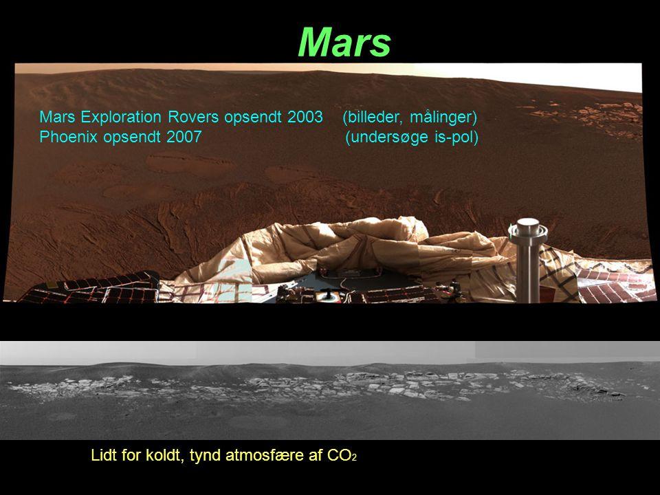 Mars Lidt for koldt, tynd atmosfære af CO 2 Mars Exploration Rovers opsendt 2003 (billeder, målinger) Phoenix opsendt 2007 (undersøge is-pol)