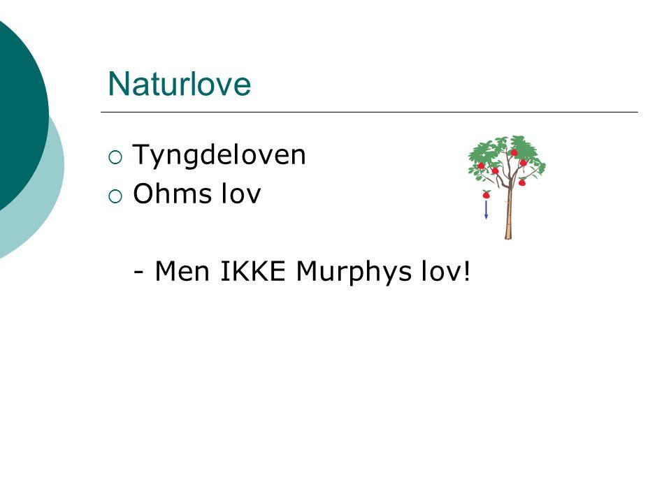 Naturlove  Tyngdeloven  Ohms lov - Men IKKE Murphys lov!