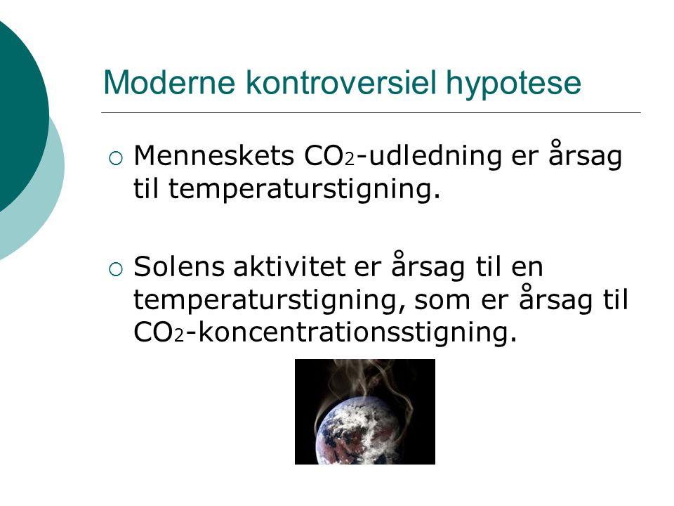 Moderne kontroversiel hypotese  Menneskets CO 2 -udledning er årsag til temperaturstigning.