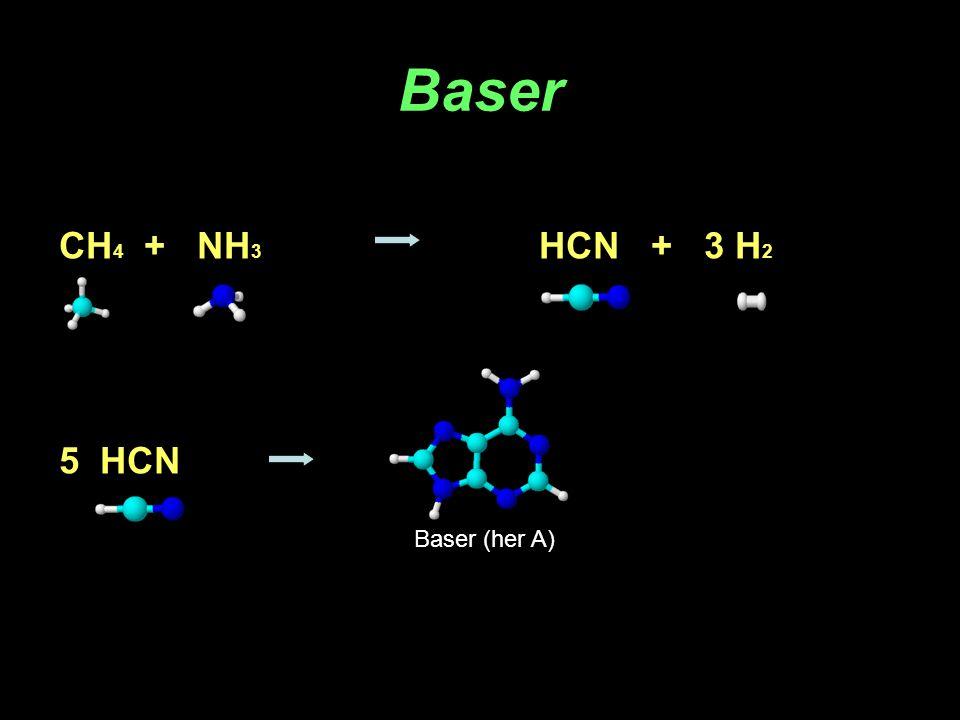 Baser CH 4 + NH 3 HCN + 3 H 2 5 HCN Baser (her A)
