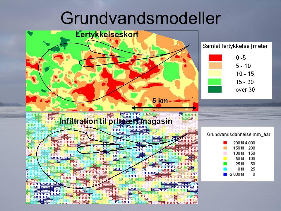 Grundvandsmodeller Infiltration til primært magasin 5 km Lertykkelseskort