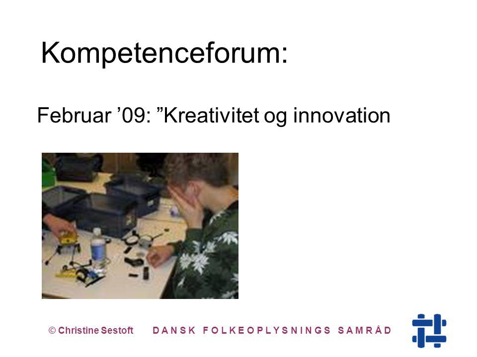 Februar '09: Kreativitet og innovation © Christine Sestoft D A N S K F O L K E O P L Y S N I N G S S A M R Å D Kompetenceforum: