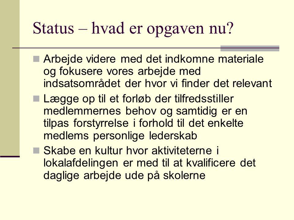 Status – hvad er opgaven nu.