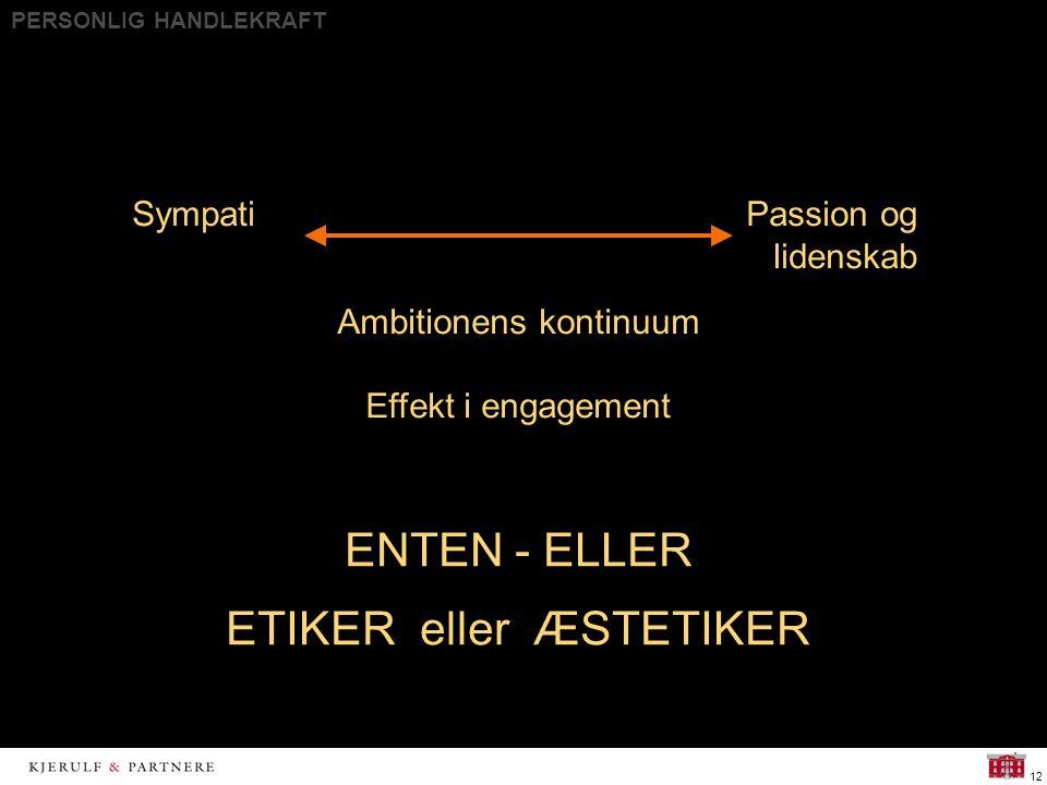 PERSONLIG HANDLEKRAFT 12 ENTEN - ELLER ETIKER eller ÆSTETIKER SympatiPassion og lidenskab Ambitionens kontinuum Effekt i engagement