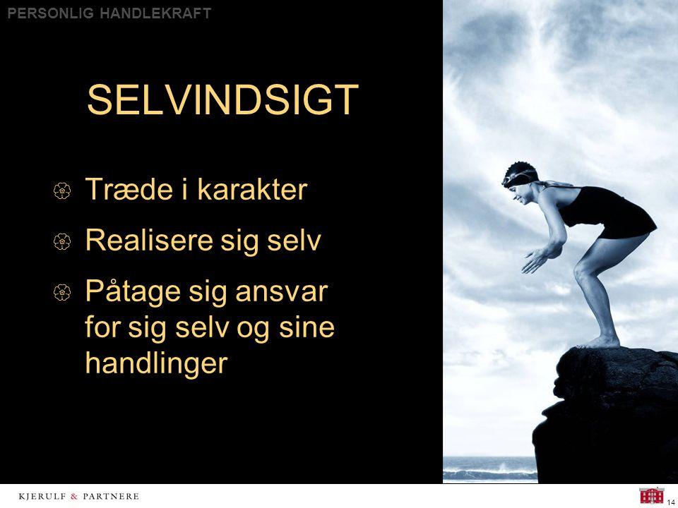 PERSONLIG HANDLEKRAFT 14 SELVINDSIGT  Træde i karakter  Realisere sig selv  Påtage sig ansvar for sig selv og sine handlinger