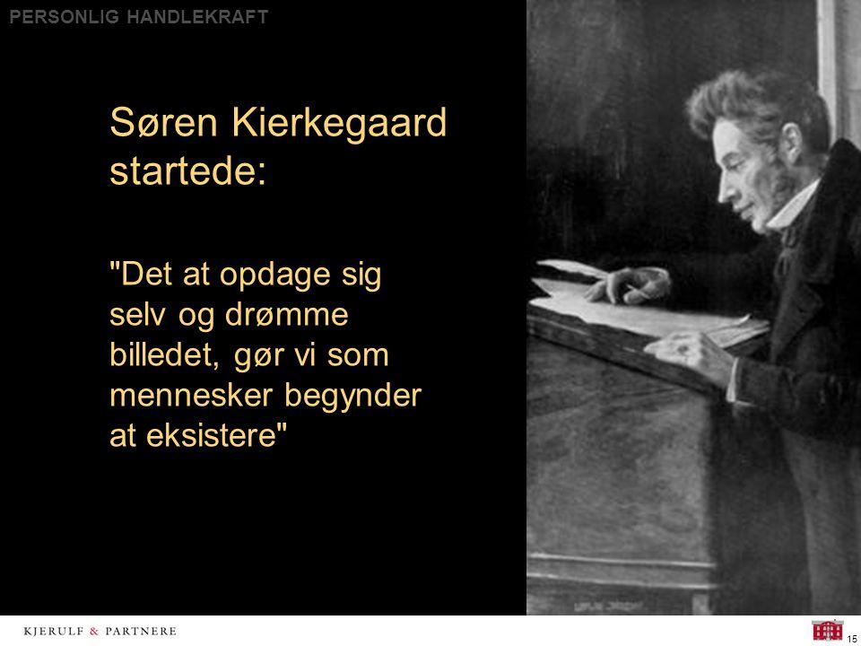 PERSONLIG HANDLEKRAFT 15 Søren Kierkegaard startede: Det at opdage sig selv og drømme billedet, gør vi som mennesker begynder at eksistere