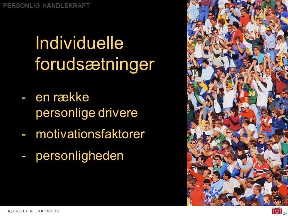 PERSONLIG HANDLEKRAFT 24 Individuelle forudsætninger -en række personlige drivere -motivationsfaktorer -personligheden
