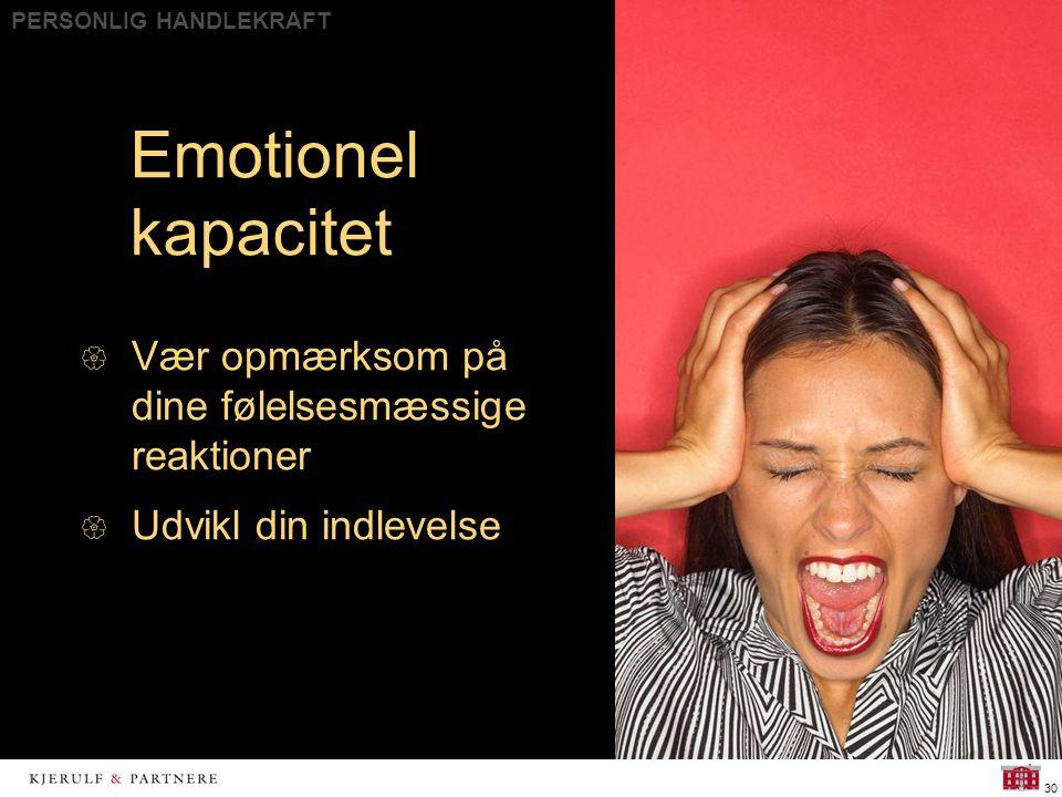 PERSONLIG HANDLEKRAFT 30 Emotionel kapacitet  Vær opmærksom på dine følelsesmæssige reaktioner  Udvikl din indlevelse